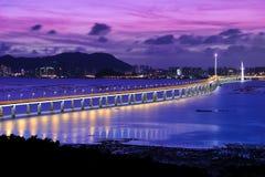 noc podpalana bridżowa scena Shenzhen obraz royalty free
