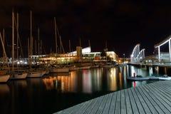 Noc port. Barcelona punkt zwrotny, Hiszpania. Zdjęcie Royalty Free
