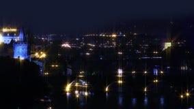 noc Prague Miasto iluminacja zbiory wideo