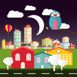 Noc projekta Wektorowy Płaski miasto ilustracja wektor