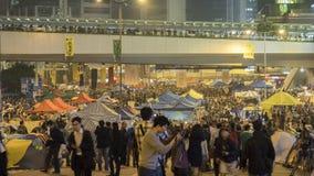 Noc przed odprawą przy Parasolową rewolucją - admiralicja, Hong Kong Obraz Royalty Free