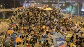Noc przed odprawą przy Parasolową rewolucją - admiralicja, Hong Kong Zdjęcie Royalty Free