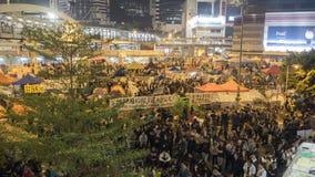 Noc przed odprawą przy Parasolową rewolucją - admiralicja, Hong Kong Obrazy Stock