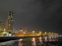 Noc przy miasta Hong kong obrazy stock