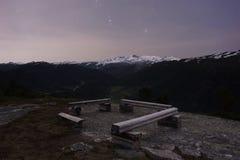 Noc przy Norweskim parkiem narodowym Obraz Stock