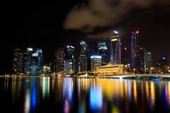 Noc przy Singapur ` s marina zatoką Obraz Royalty Free