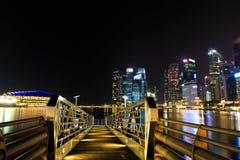 Noc przy Singapur ` s marina zatoką Fotografia Royalty Free