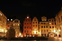 Noc przy Stortorget w Sztokholm Fotografia Stock
