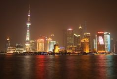 noc pudong Shanghai widok Zdjęcie Stock