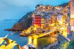 Noc Riomaggiore, Cinque Terre, Liguria, Włochy fotografia royalty free