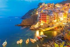 Noc Riomaggiore, Cinque Terre, Liguria, Włochy Obraz Royalty Free
