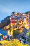 Noc Riomaggiore, Cinque Terre, Liguria, Włochy Obrazy Stock