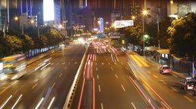 Noc ruch drogowy przy Shenzhen Obraz Stock