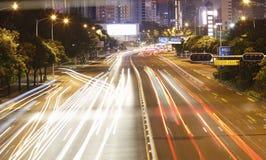 Noc ruch drogowy przy Shenzhen Zdjęcia Royalty Free