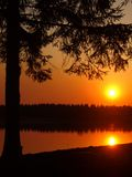 noc rzeki słońca Fotografia Royalty Free