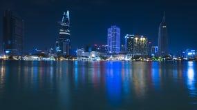 Noc Saigon, śródmieście zdjęcie royalty free