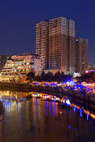 Noc scen brzeg rzeki CHENGDU miasto Fotografia Royalty Free