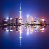 noc Shanghai linia horyzontu Zdjęcia Royalty Free