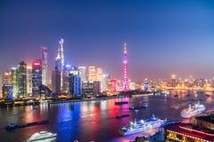 Noc Shanghai północny bund Zdjęcia Royalty Free