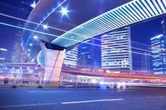 noc Shanghai ruch drogowy Obraz Royalty Free