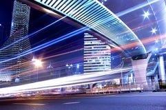 noc Shanghai ruch drogowy widok Fotografia Royalty Free