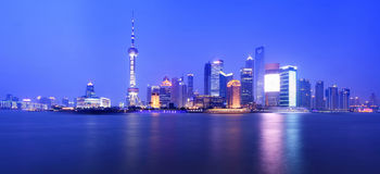 noc Shanghai widok Zdjęcie Royalty Free