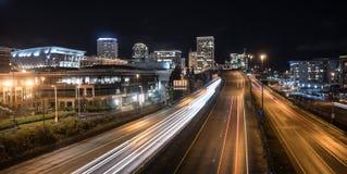 Noc Spada zimy Solstice autostrady rampa Tacoma Waszyngton zdjęcie royalty free