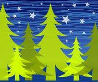 noc star drzewo zimę Zdjęcia Royalty Free