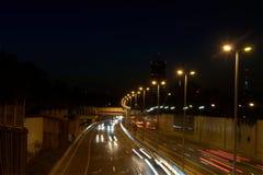 Noc strzał autostrady droga tęsk ujawnienie Zdjęcia Stock