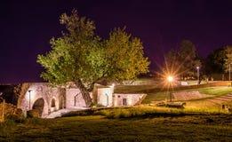 Noc strzelał od Kalemegdan forteczny Belgrade z rzeką, zwycięzcy zabytkiem Pas pije fontannę i Mehmet, Fotografia Royalty Free