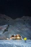 Noc strzelająca balea jeziora kabina Obraz Stock