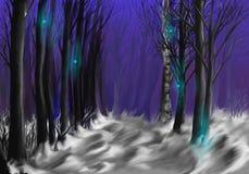 noc tajemnicze iskry ilustracji