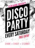 Noc tana dyskoteki przyjęcia projekta szablon w poligonalnym stylu Świetlicowy prywatka wydarzenie DJ muzyczny plakatowy promocyj Zdjęcie Royalty Free