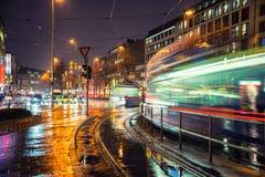 Noc w Monachium, Niemcy centrum miasta zdjęcia royalty free
