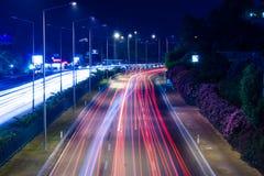 Noc widok autostrada między Antalya i Alanya Zdjęcia Royalty Free
