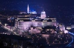 Noc widok Buda kasztel w Budapest Obraz Royalty Free