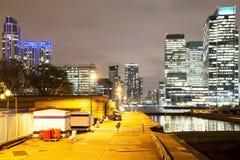 Noc widok Canary Wharf pieniężny okręg zdjęcia royalty free