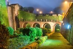 Noc widok Castillo De Montjuic Obrazy Royalty Free