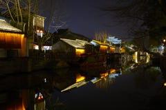 Noc widok Chiński antyczny miasteczko Obraz Stock