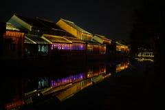 Noc widok Chiński antyczny miasteczko Fotografia Royalty Free