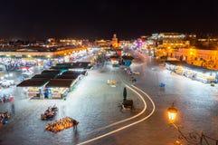 Noc widok dla Jemaa el, Djema el lub Djemaa el martket, miejsce w Marrakesh fotografia royalty free