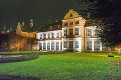 Noc widok dla opata ` pałac w Gdańskim Oliwie w Polska Obrazy Royalty Free