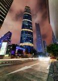 Noc widok drapacze chmur przy Zhujiang Nowym miasteczkiem, Guangzhou Fotografia Royalty Free