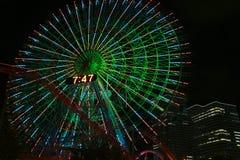 Noc widok Ferris koło park rozrywki Obraz Royalty Free