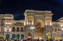 Noc widok Galleria Vittorio Emmanuele II w Mediolan Obraz Royalty Free