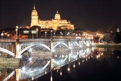 Noc widok katedra Salamanca Zdjęcia Stock