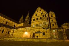 Noc widok Katedralny kwadrat w Bamberg, Niemcy (DOMPLATZ) zdjęcia royalty free
