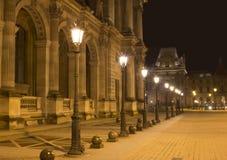 Noc widok latarnie uliczne obraz stock