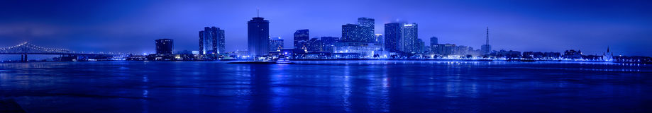 Noc widok linia horyzontu Nowy Orlean Obrazy Royalty Free