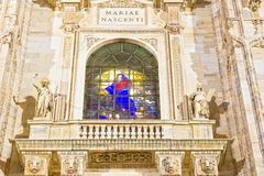 Noc widok Mediolańscy katedry lub Duomo di Milano Obraz Stock